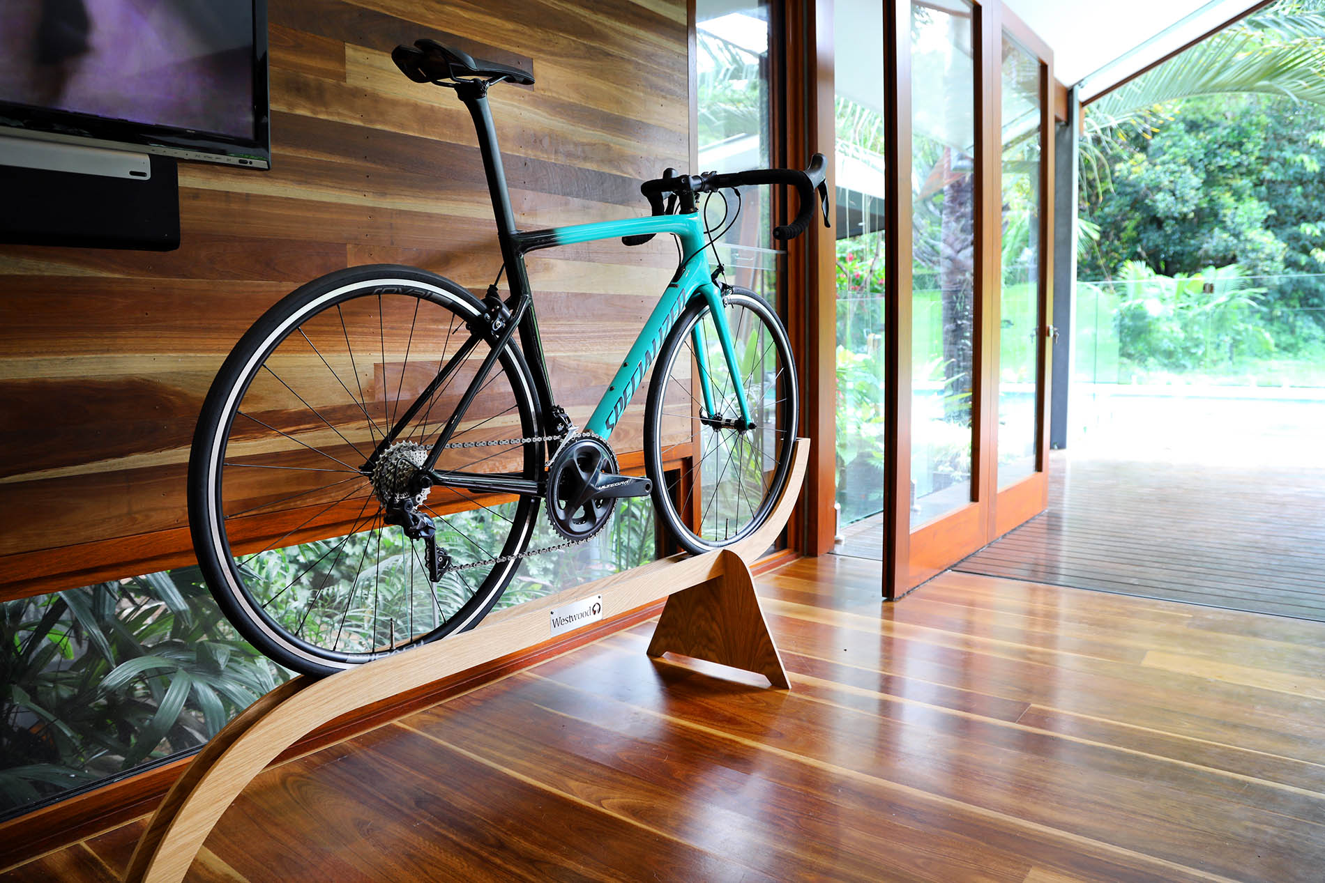 Designer Bike Stand Displaying a Sports Road Bicycle